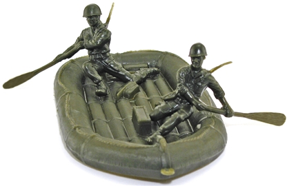 Inflatable Boat and Crew - 2 sets - green color