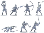 Medieval Foot Soldiers - 14 in 7 poses gray color
