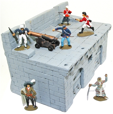 Hand-Painted Castle or Fortress Wall Section