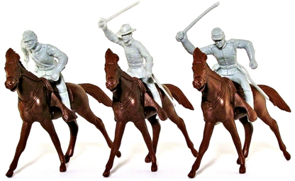 Civil War 3 CSA Cavalry with 3 Horses