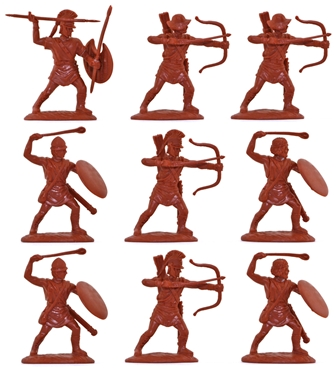 Ancient Greek Psiloi Archers and Slingers in red