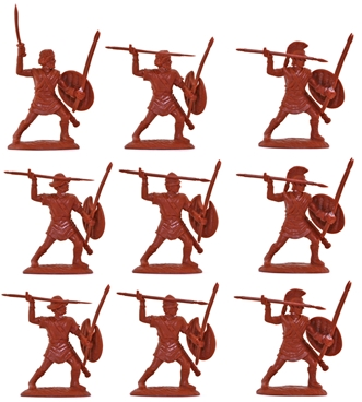 Ancient Greek Peltasts in red color