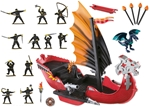Dragon Battle Ship with Painted Ninja Crew