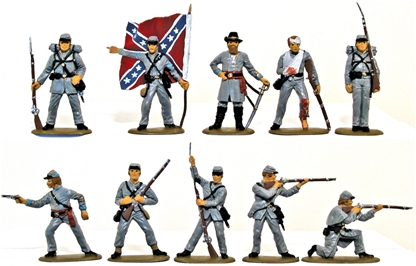 C.S.A. Infantry - Basic paint set of 4 with flag