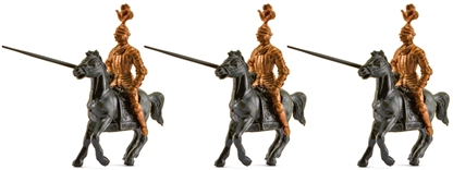 3 Mounted Knights in Armor with horses and lances