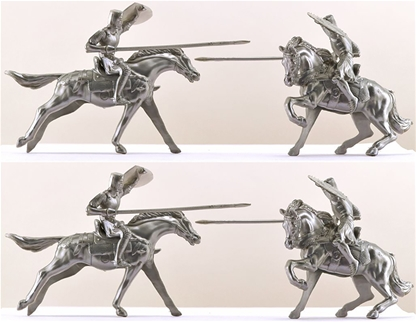 Mounted Prince Valiant Knights - silver color