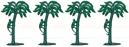 Palm Trees - set of 4 in dark-green color