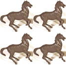 4 Ben Hur Chariot Horses -brown upright