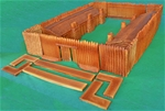 Hand Painted Davy Crockett Stockade Fort complete