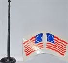 U.S. Colonial Flag with Flagpole and Base