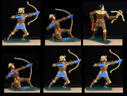 Gold-Bronze Knights - 6 in 4 Poses - hand painted