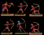 Red Knights - 6 in 4 Poses - hand painted