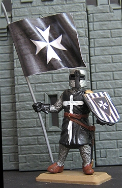 Hospitalier Knight with Banner in Black Surcoat