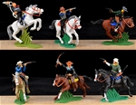 Mounted Cowboys - 6 painted mounted figures