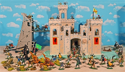 Grand Painted Knights and Wooden Castle Playset