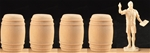 4 Real Wooden Barrels - 54mm scale