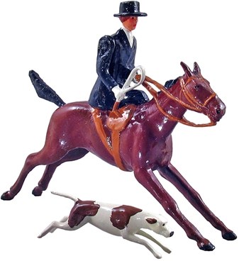 Huntswoman Mounted with Hound
