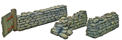Stone Wall with Gate and Two Straight Sections