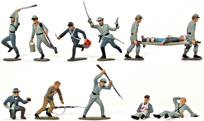 Six Civil War C.S.A. Centennials - Fully painted