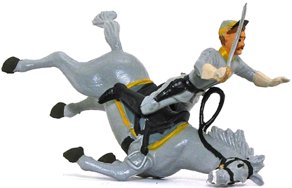 Civil War Falling Horse and Rider - basic painted