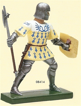 Yellow White and Blue Foot Knight with Pole Axe