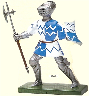 Blue and White Foot Knight with Sword