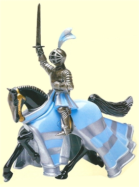 Blue and Silver Mounted Knight with Sword