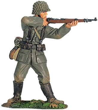 World War II German Infantryman Standing Firing