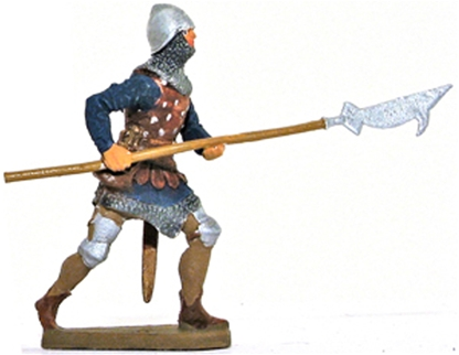 Medieval Man at Arms Advancing with Billhook