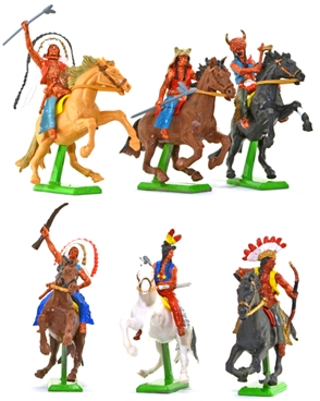 Deetail Mounted Indians - 6 in 6 poses