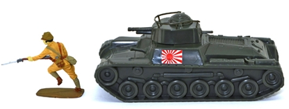 WW II Japanese Chi-Ha Tank with Flag Insignia
