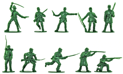Civil War Confederate Infantry Set #1 in green