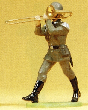 German Bandsman Playing Trombone Marching