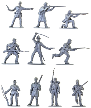 C.S.A. Infantry Set #1 - in rare mid-gray color