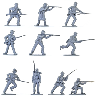 C.S.A. Infantry Set #2 - in rare mid-gray color