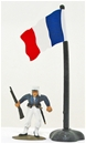 French Flag with Flagpole and Base
